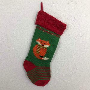 Christmas Stocking Knit Fox Red Green Orange